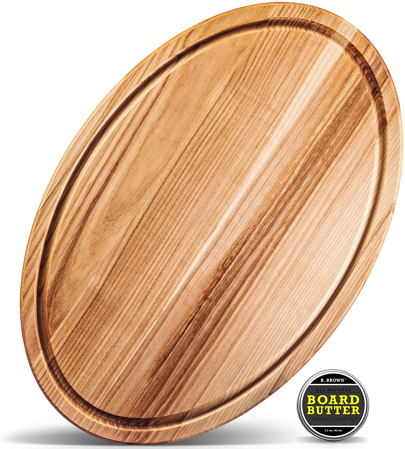 B.Brown LARGE Wood OVAL Cutting Board With Juice Groove For Kitchen 17.5x11.5 inches From Natural HARDWOOD For Use As: Butcher Block