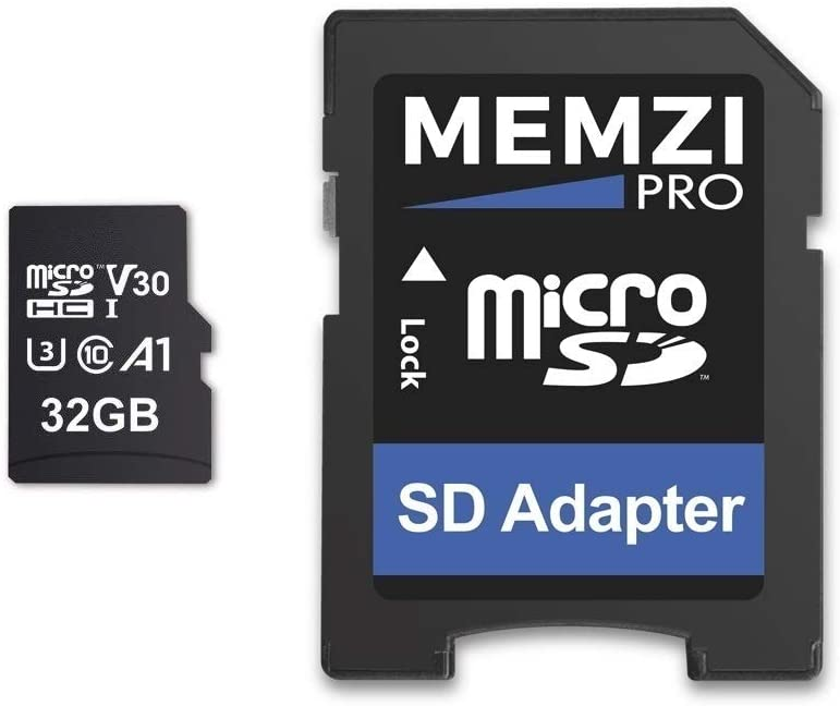 MEMZI PRO 32GB Micro SDHC Memory Card for Polaroid iXX090, i20X29, iS085, iS048 Digital Cameras - High Speed Class 10 UHS-1 U3 100MB/s Read 70MB/s Write V30 4K Recording with SD Adapter