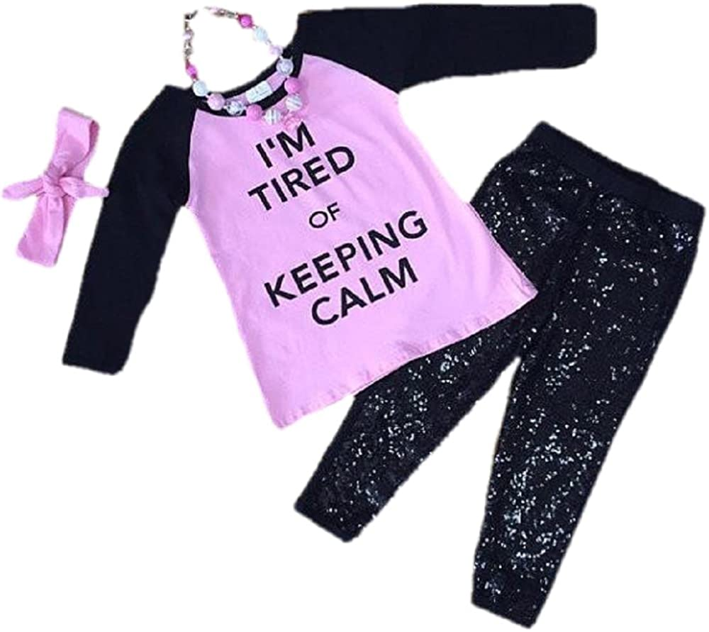 Cute Kids Clothing Toddler Girl/Girls Tired of Keeping Calm Outfit Boutique Set 12M-6/7
