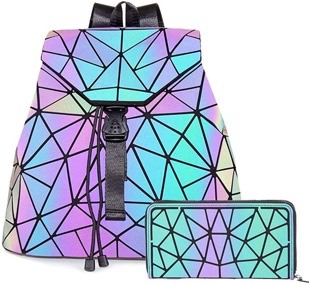 HotOne Luminous Geometric Purse and Handbag Holographic Purse Reflective Purse Fashion Backpacks