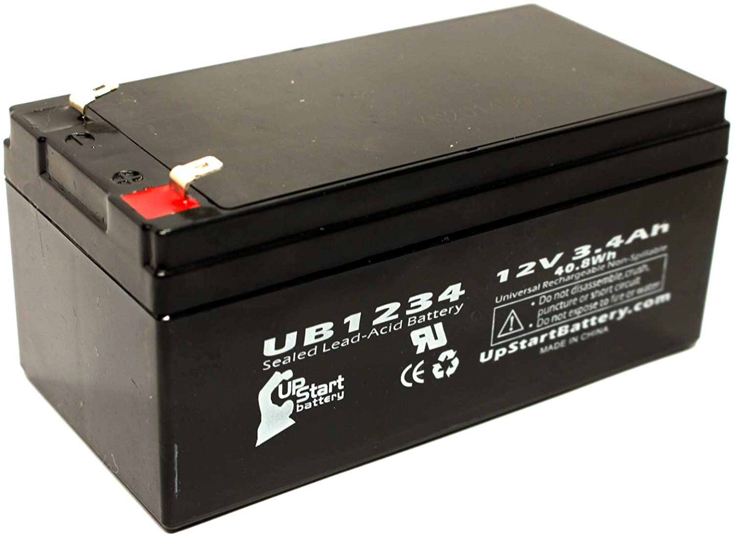 Replacement for Conext CNB325 Battery - Replacement UB1234 Universal Sealed Lead Acid Battery (12V, 3.4Ah, 3400mAh, F1 Terminal, AGM, SLA) - Includes Two F1 to F2 Terminal Adapters