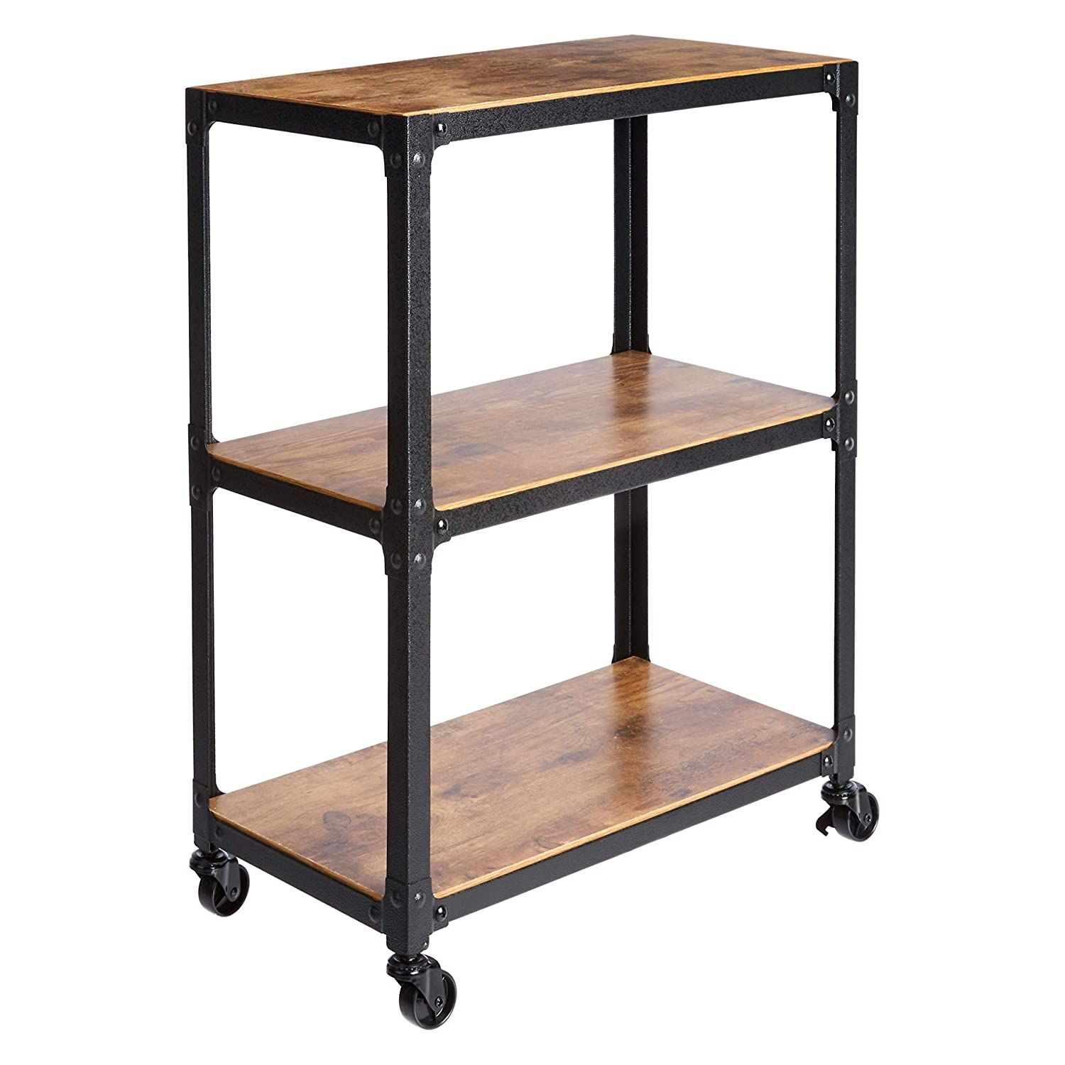 DHgateBasics 3-Tier Wood and Metal Utility Cart, Black/Brown
