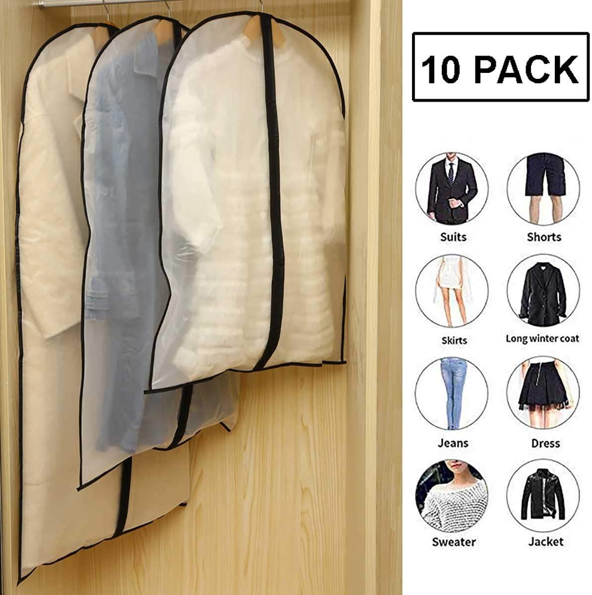 OPYWQS 10 Pcs,PEVA Translucent Matte Texture Clothes Organizer Storage Bag Hanging Garment Dust Covers,Zipper,Foldable,for Wardrobes,Zipper,24