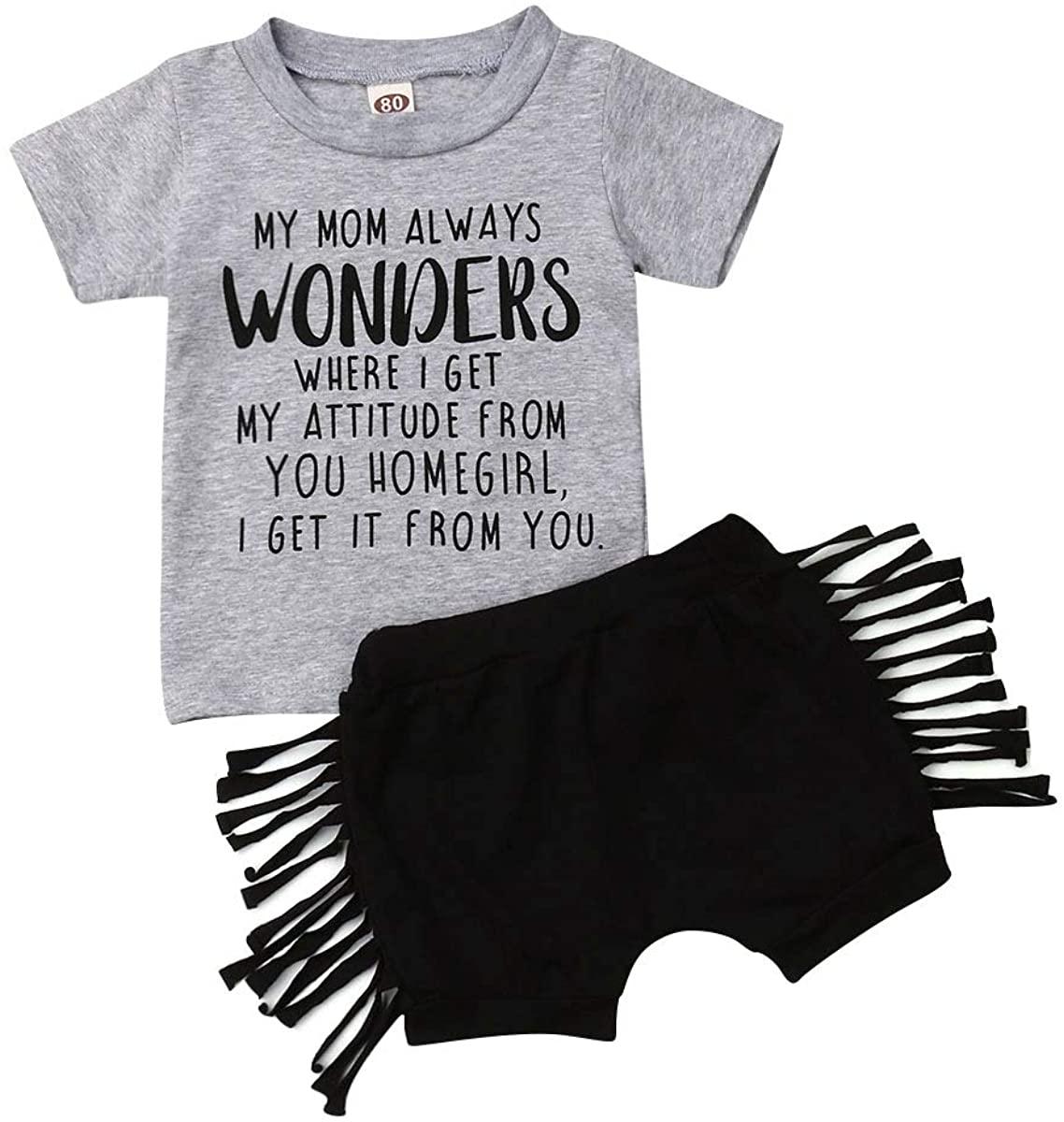 2 PCS Toddler Kids Baby Girl Short Sleeve T-Shirt Tops+Tassel Shorts Pants Outfits