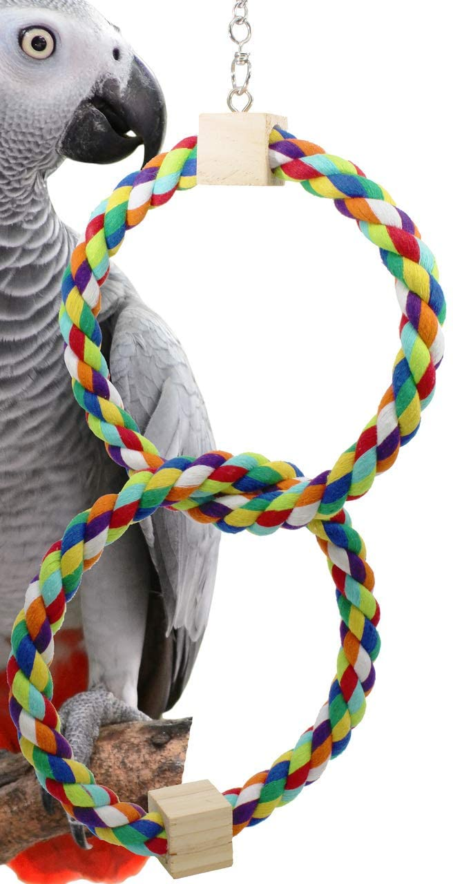 Bonka Bird Toys Rainbow Ring Perch Single Double Triple Cotton Colorful Parrot Budgie Finch Cockatoo