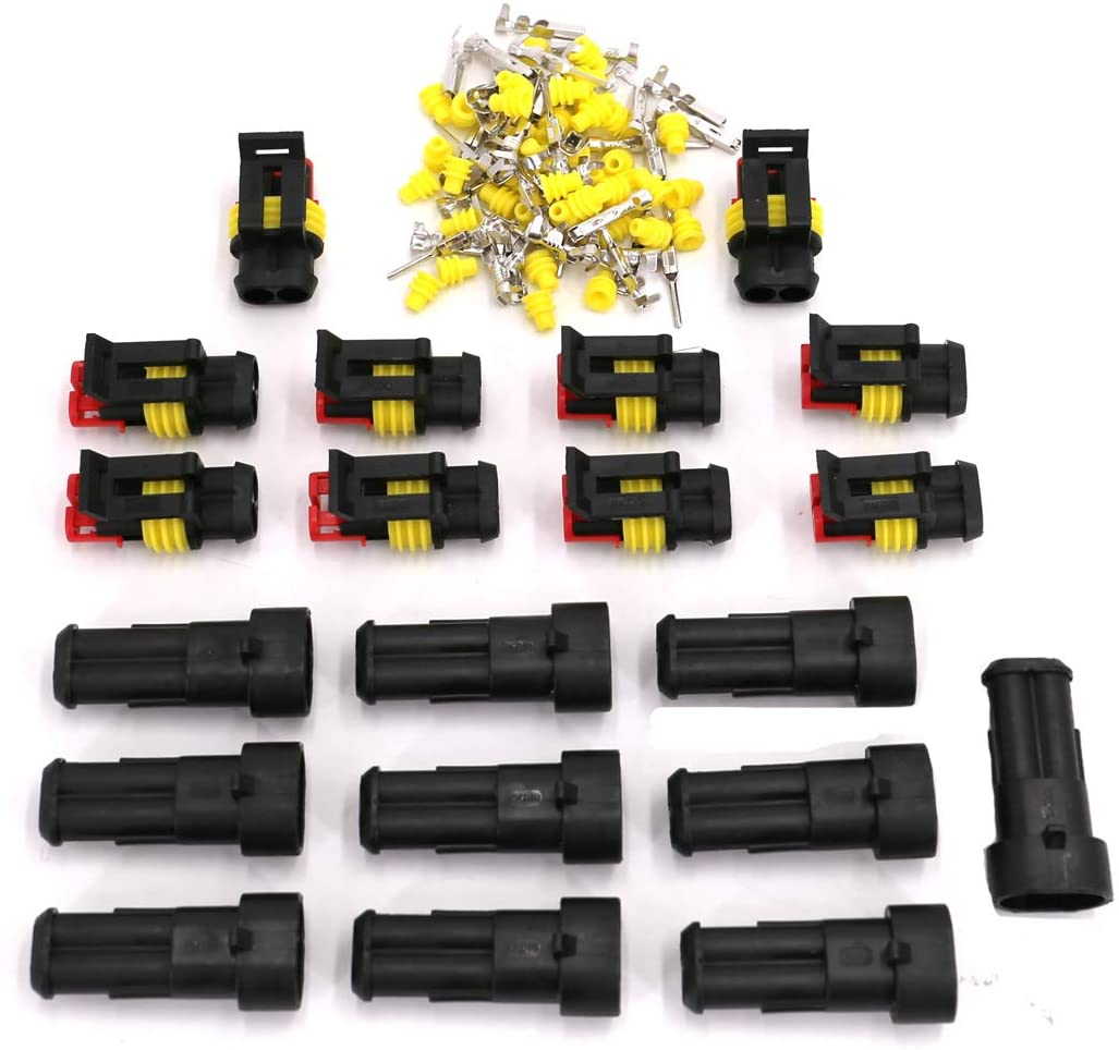 UTSAUTO 2 Pin Way Waterproof Electrical Connector Car Wire Connector Plug for Auto Motorcycle Scooter Truck Marine Plug Socket Kit 10 Kit