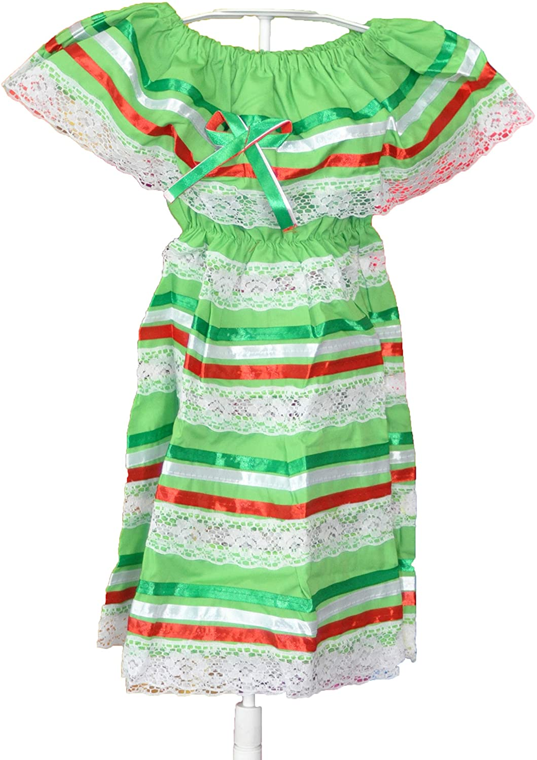 Mexican Child Dress Coco Theme Party Peasent Dress Hippie Dress (Lime Green) 12 to 24 Months