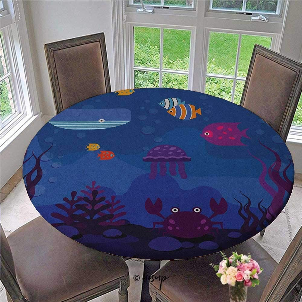 ThinkingPower Tablecloths Underwater World Fish in Aquarium and Whale Crabs Jellyfish Bubbles Coral Perfect Pretty Cover for Travel, Picnics, Christmas Parties Blue and Multicolor Diameter - 59 Inch