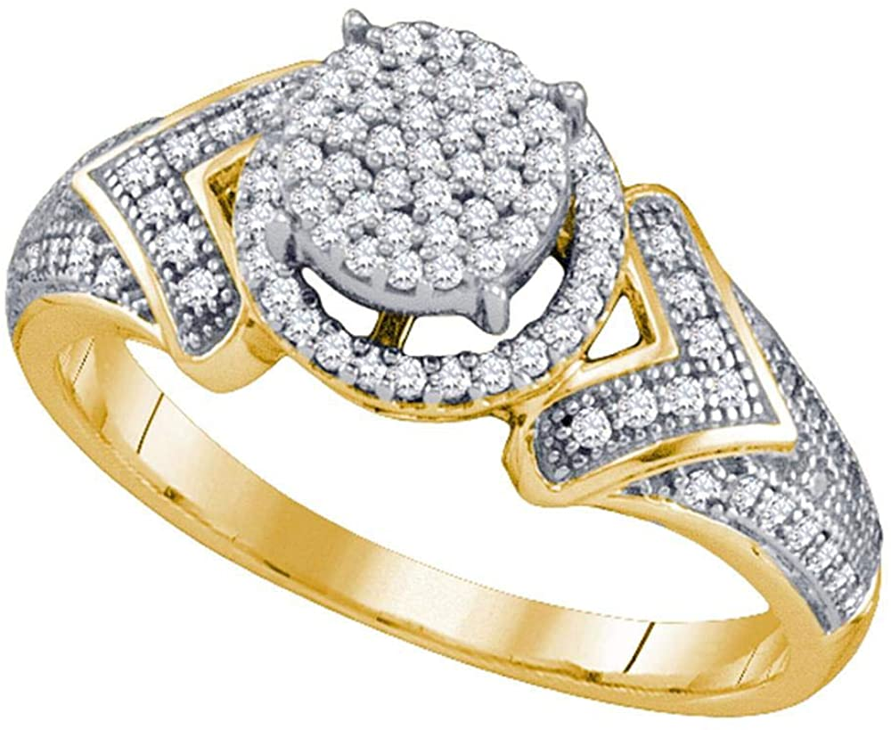Dazzlingrock Collection 10kt Yellow Gold Womens Round Diamond Cluster Ring 1/3 Cttw