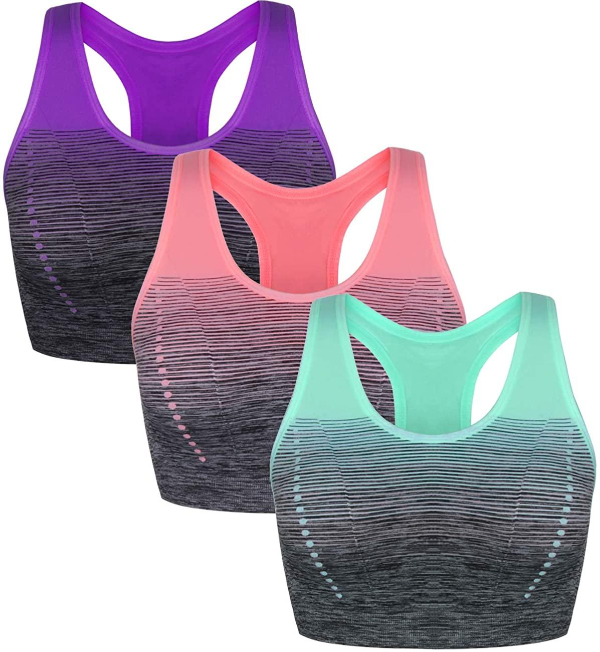 Sykooria 1-3 Pack Women's Sports Bra Racerback Tank Workout Tops Medium Impact Zip Front Active Fitness Yoga Bras