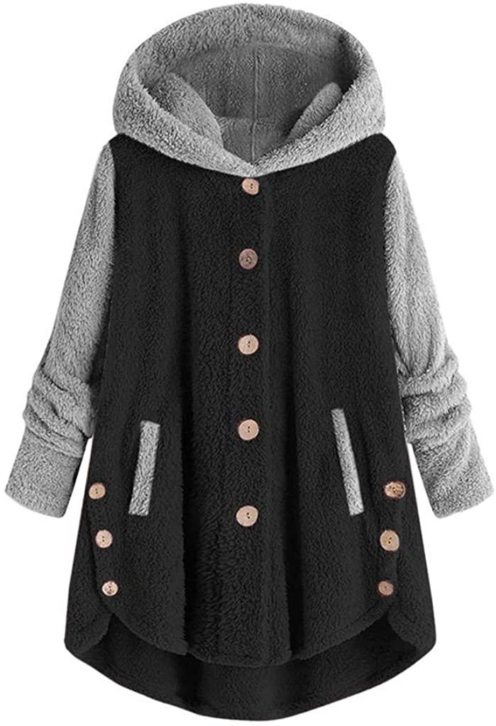 terbklf Fuzzy Hoodies for Women Pullover Womens Oversized Sherpa Hoodies with Pockets Fuzzy Fleece Sweatshirt Fluffy Coat