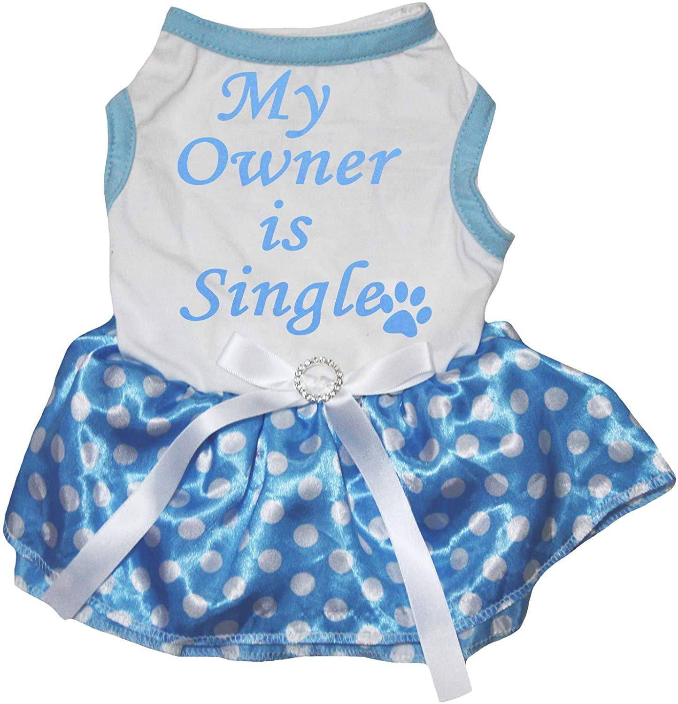 Petitebella My Owner is Single White Shirt Blue Polka Dots Tutu Puppy Dog Dress