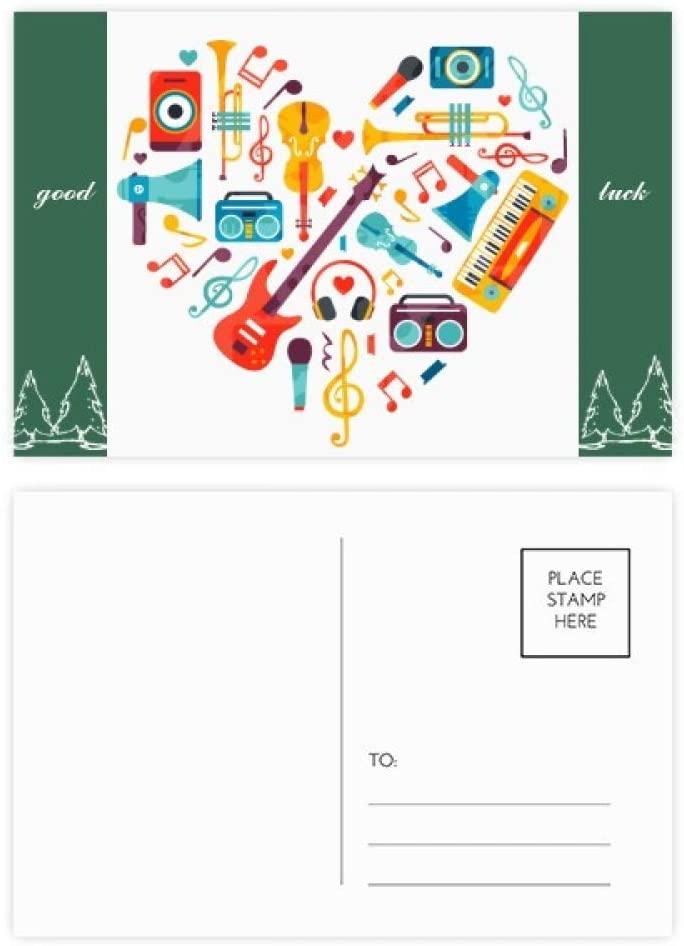 Guitar Music Instrument Heart Pattern Good Luck Postcard Set Card Mailing Side 20pcs