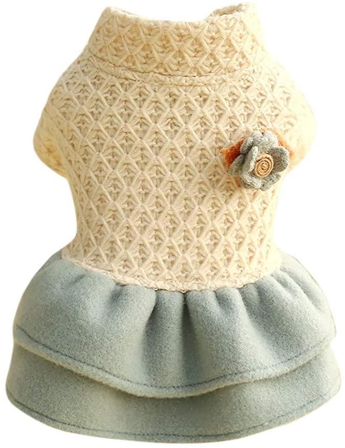 MomentDAY Pet Fashion Turtleneck Sweater Knitwear Cotton Woolen Coat Princess Dress Tutu Autumn Winter Comfort Cat Dog Clothing Clothes Apparel Costume XS-XL