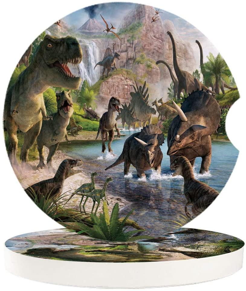 Car Drinks Coasters for Cup Holders Set of 6 Pack Volcano Dinosaur Gathering Absorbent Ceramic Stone for Auto Coasters, Car Accessories Easy Removal from Auto Cupholder