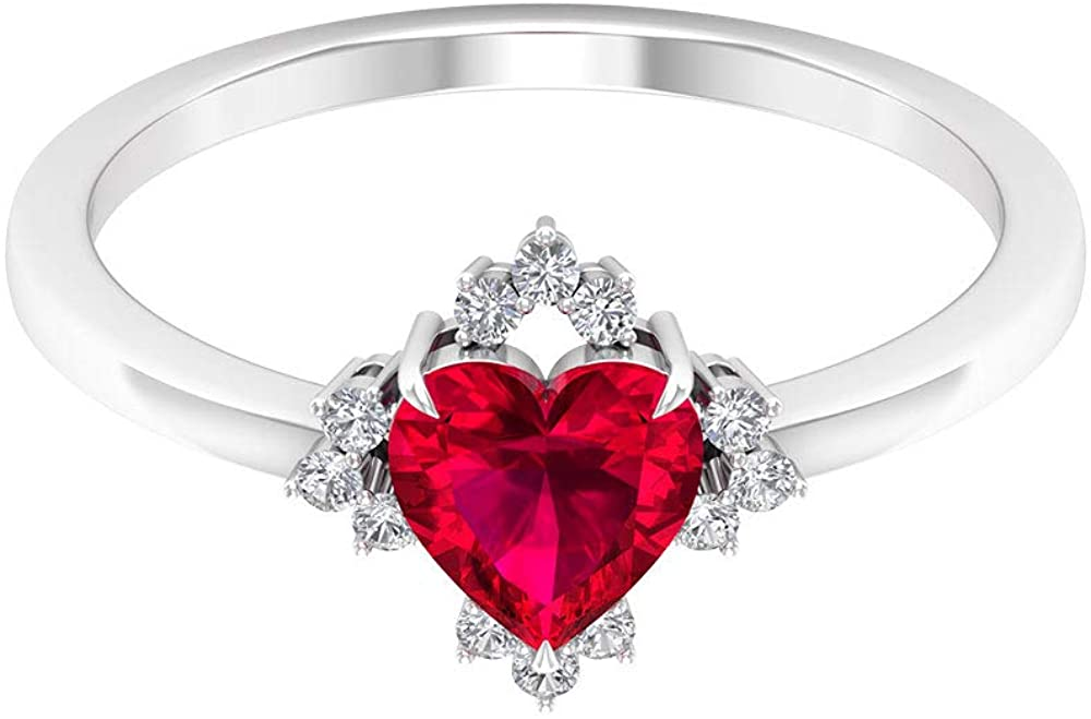 1 Ct Heart Shape Ruby Solitaire Ring, Unique Wedding Engagement Gold Ring, 0.12 Ct Diamond Cluster Bridesmaid Ring, SGL Certified Gemstone Women Ring