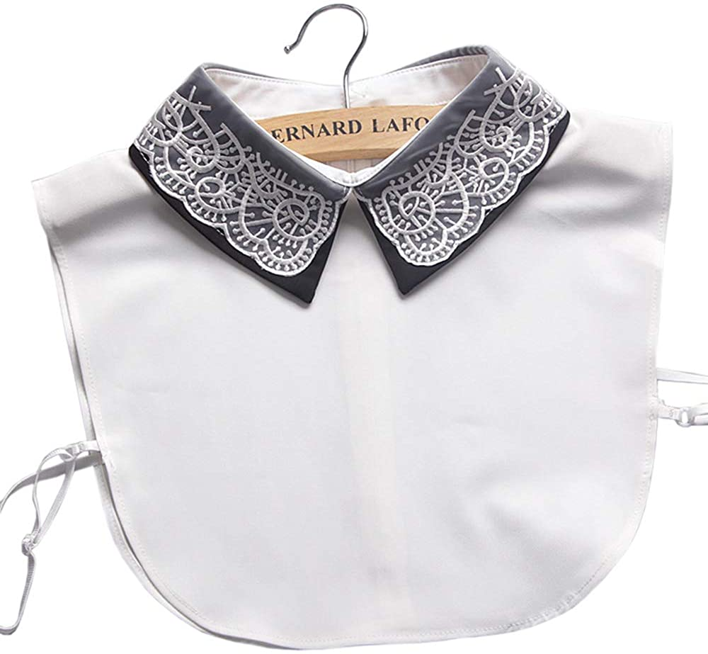 Booluee Detachable Double Layers Fake Collar Half Shirt Blouse Embroidery False Collar White