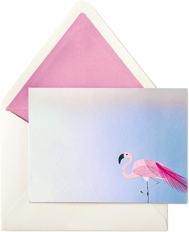 Hallmark Signature Blank Cards, Flamingo (8 Cards with Envelopes)