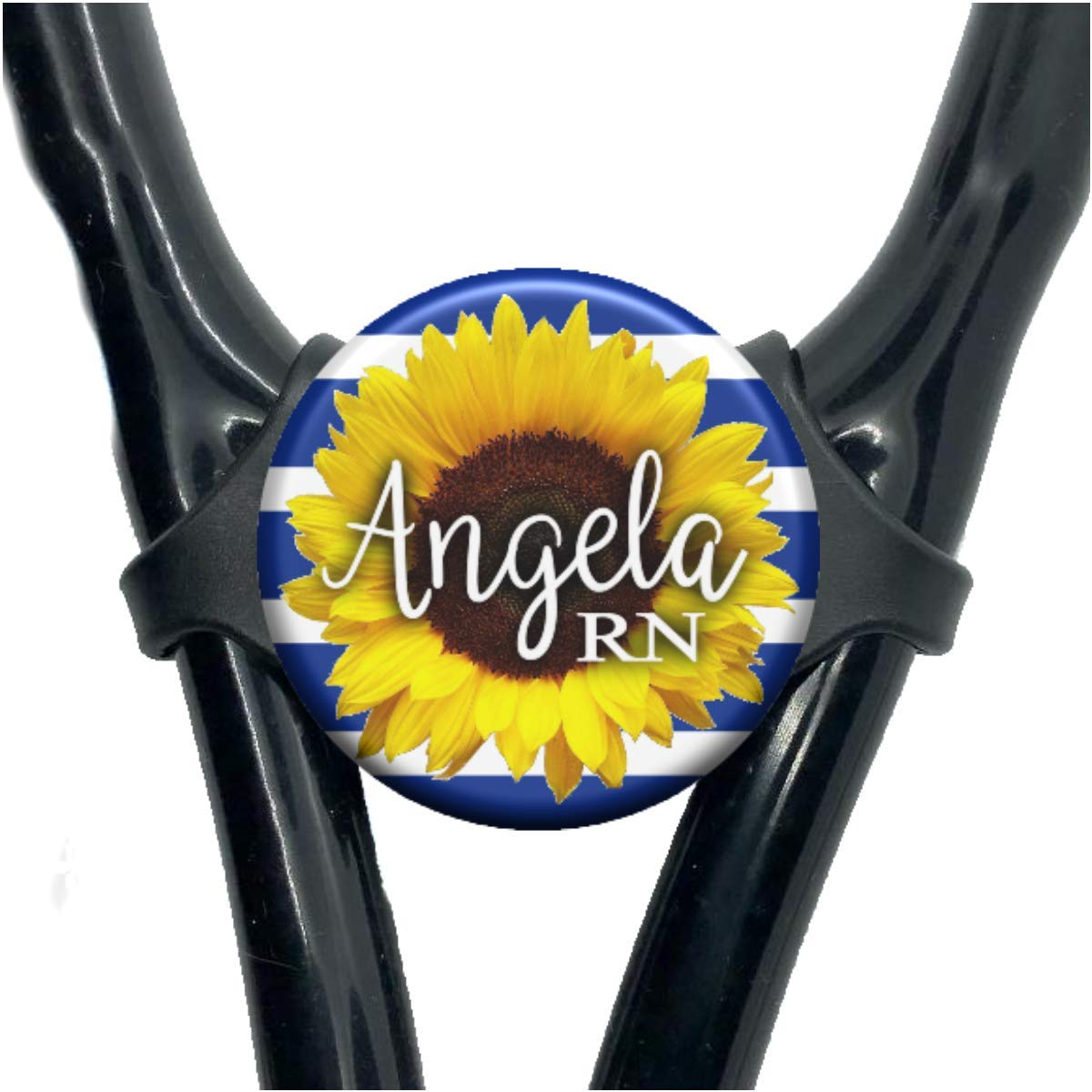 Navy Stripe Sunflower Stethoscope Tag - Adjustable Yoke Steth Id Personalized with Name Monogram Occupation Title - Floral Nurse Gift