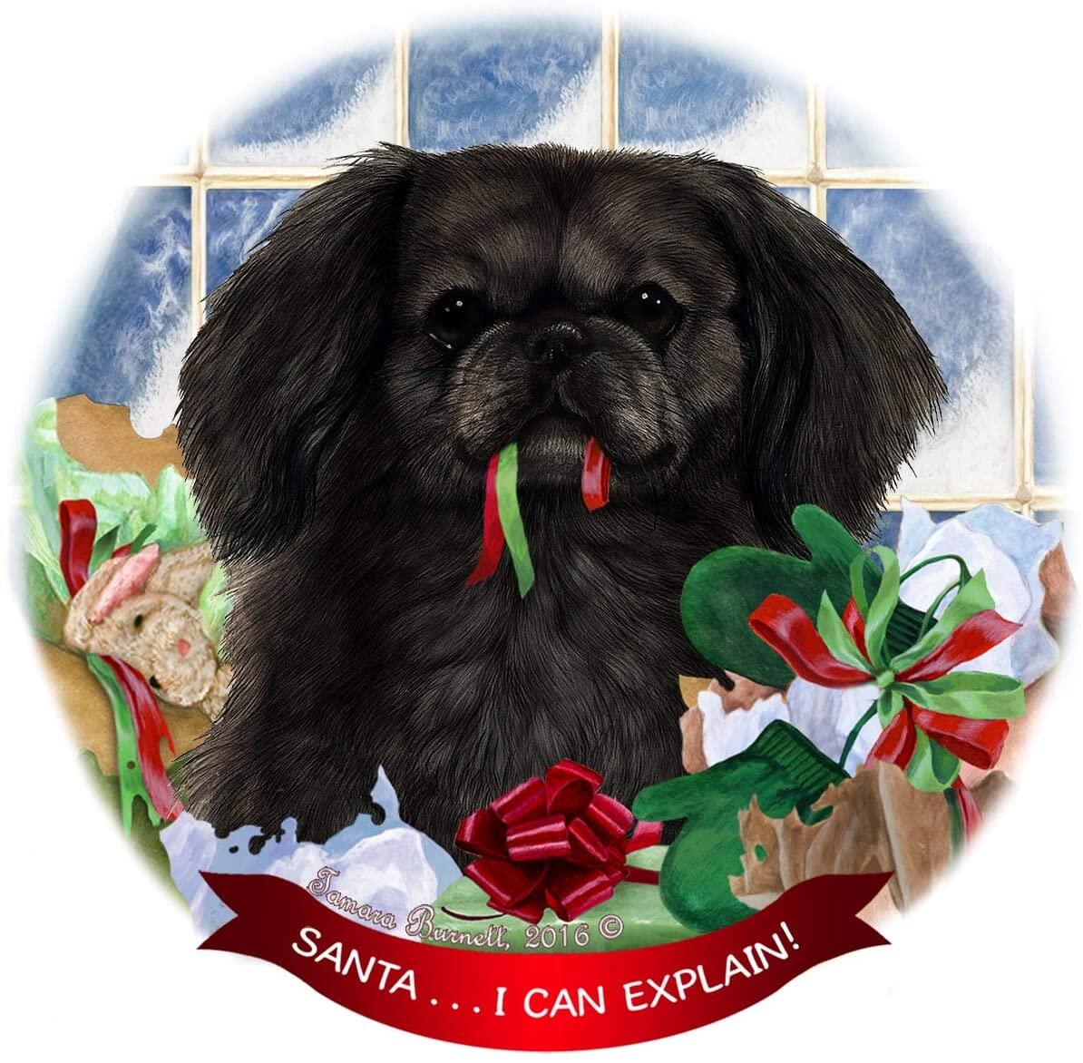 Pekingese Black Dog Porcelain Ornament Pet Gift 'Santa. I Can Explain!'