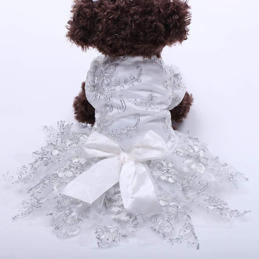 LUCACO Pet Dress Lace Princess Wedding Dresses for Dog Puppy Elegant Cute Clothes Soft Apparels