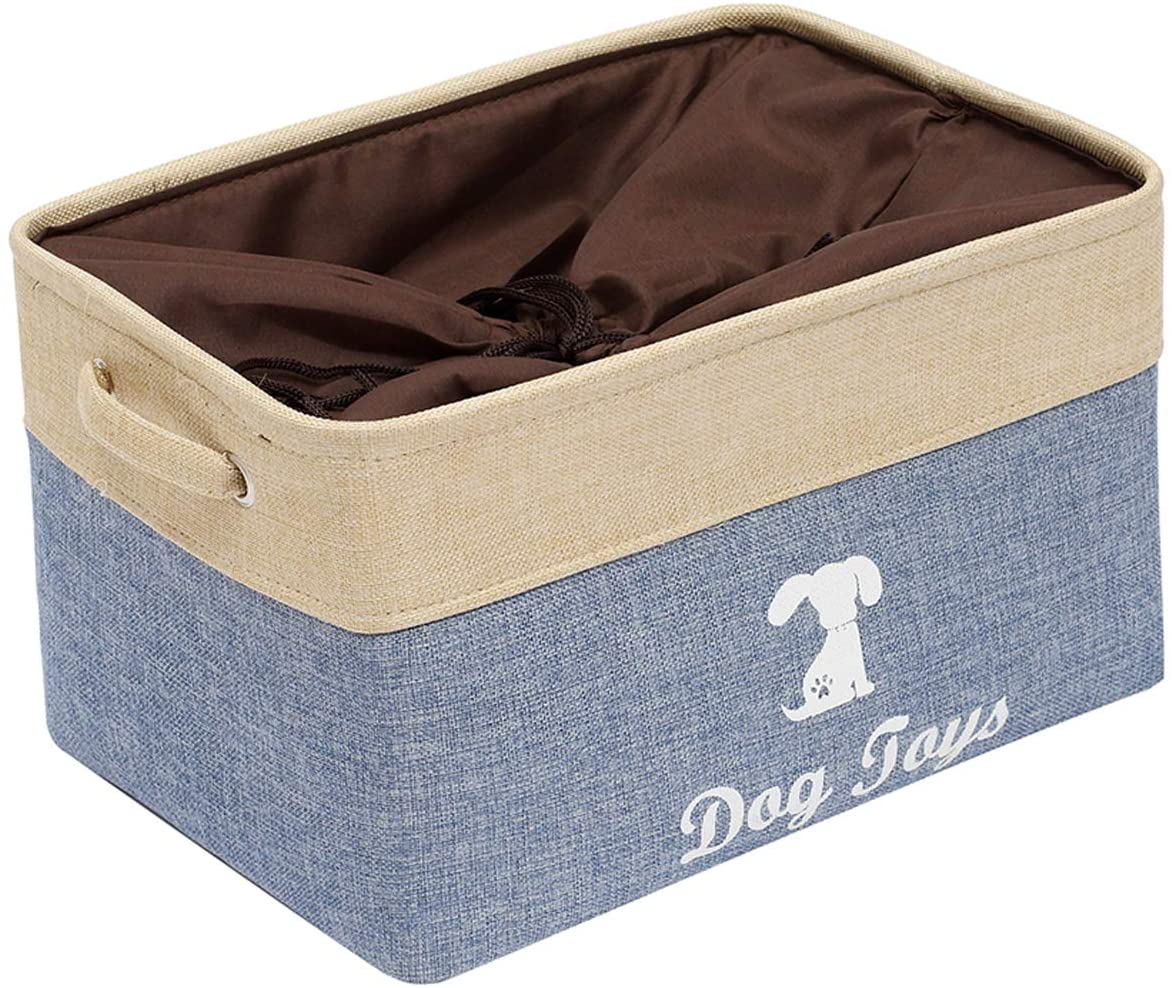 Morezi Large Canvas Pet Toy Boxes Dog Toy Storage Basket Bin with Handles and Drawstring Closure - Perfect for Organizing Pet Toys, Blankets, Leashes, Towel, Coats, Diaper, Pet Pee Mat