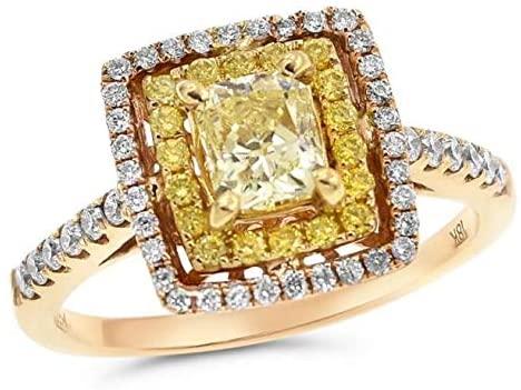LARGE .48CT WHITE & FANCY YELLOW DIAMOND 18KT YELLOW & ROSE GOLD ENGAGEMENT RING