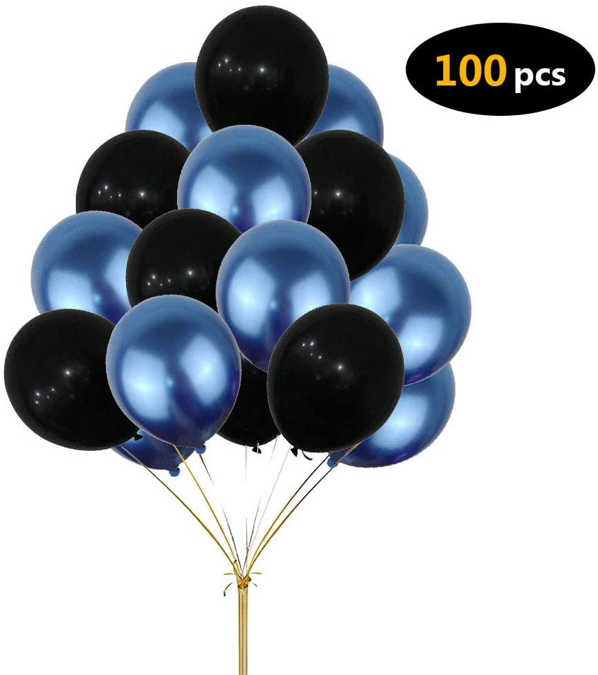 Party Balloons, Yoart Happy Birthday Party Decoration Balloons Wedding Party Supplies Blue and Black Foil Balloons for Boys Girls Women Men 100pcs