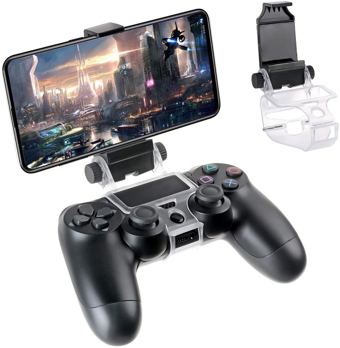 FiiMan PS4 Controller Phone Clip, PS4 Slim Pro Controller Grip for Android Smart Phone, 180 Degree Gaming Holder Mount Stand Bracket for Playstation 4 Game Controller