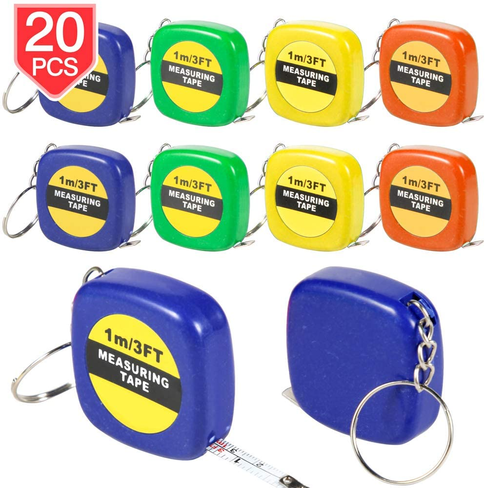 PROLOSO Tape Measure Keychains Retractable Measuring Tapes Party Favors Pack of 20 for Kids & Adults 1m/3Ft