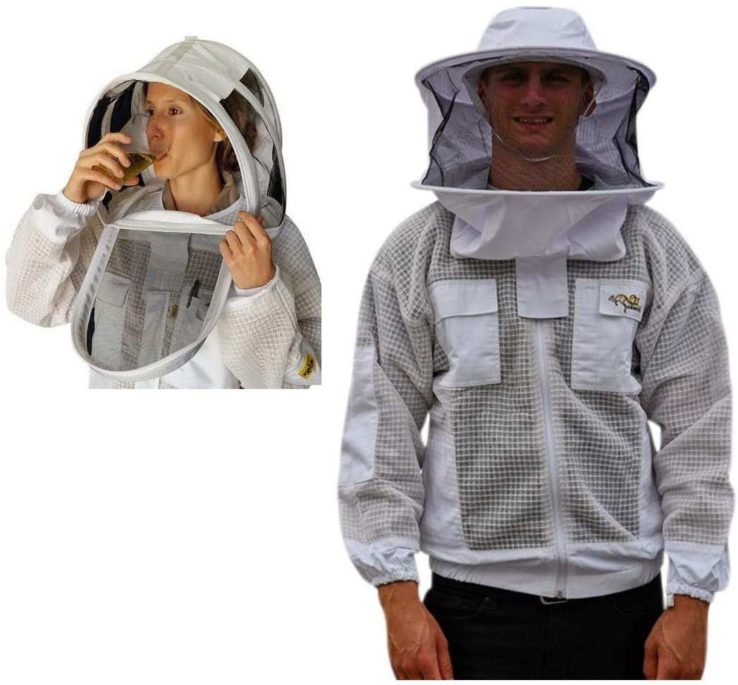 OZ ARMOUR Beekeeping Ventilated Jacket Ultra Cool 3 Layers Mesh with 2 Hoods Fencing and Round Brim Hat(Large)