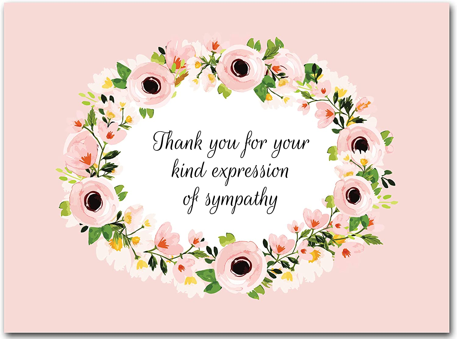 25x Funeral Thank You Cards with Envelopes – Blank Floral Sympathy Acknowledgement Thank You Notes for Personalized Thanks and Appreciation
