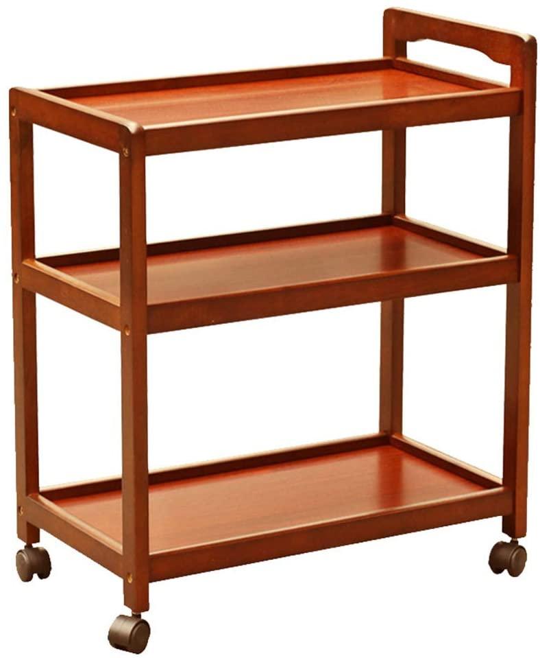 Solid Wood Dining Cart, Snack Car Multifunctional Kitchen Storage Cart Bar Cart 3 Storage Shelves Storage with Removable Shelves