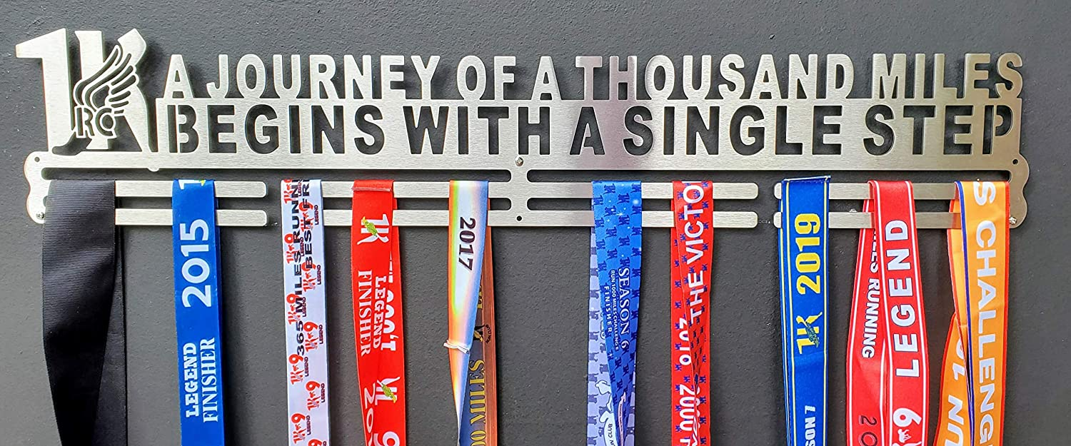 1K Medal Hanger | A Journey of 1000 Miles Begins with a Single Step | 1K Running Store
