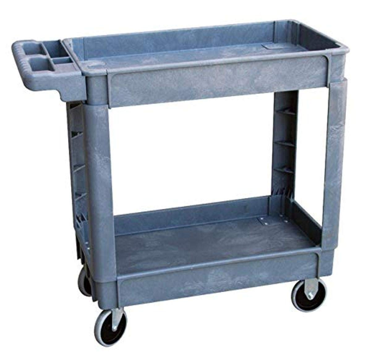 School Specialty 2-Shelves Utility Cart, 17 W X 31 D X 33 H in, 500 lb, High Density Thermoplastic, 4 Wheel