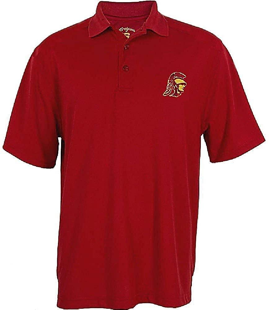 289c apparel USC Trojans Mens Cardinal Trojan Head Screened Logo Synthetic Polo Shirt (Medium)