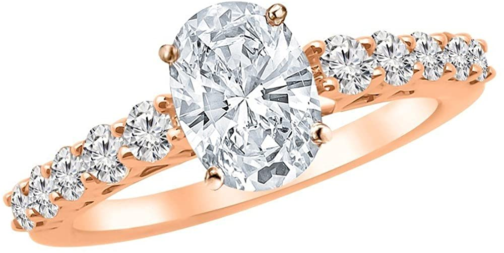 1.75 Ctw 14K White Gold Graduating Riviera IGI Certified Oval Cut Diamond Engagement Ring (1 Ct Center F-G Color SI1-SI2 Clarity)
