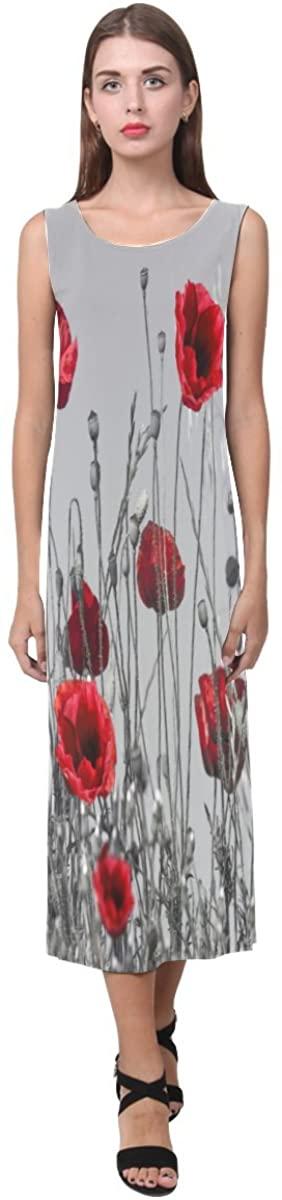 Red Poppy Flower Pattern Theme Design for Women Girl's Sleeveless Open Fork Long Dress(XS-3XL)