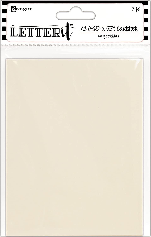 Ranger Ivory Letter It Cardstock 4.25X5.5 12/Pkg