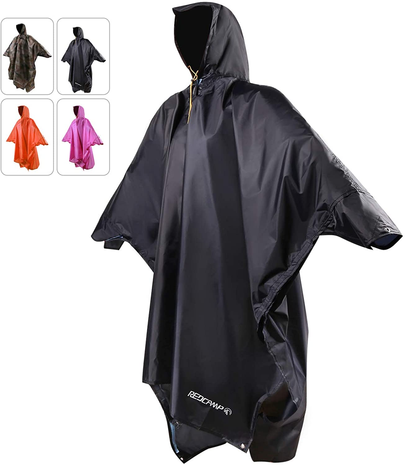 REDCAMP Waterproof Rain Poncho with Hood and Arms for Camping Hiking, 3 in 1 Multifunctional Lightweight Reusable Raincoat for Men Women Adults Kids