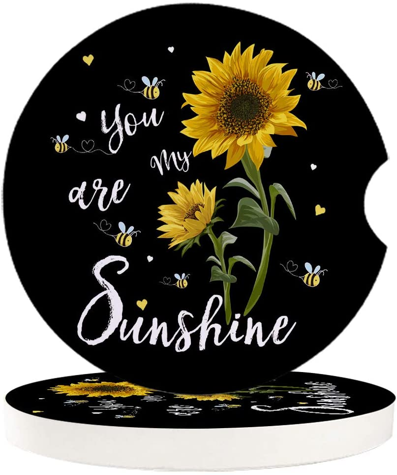 Car Drinks Coasters Set of 2 Pack You are My Sunshine Sunflowers Absorbent Ceramic Stone Black Coaster with A Finger Notch for Easy Removal from Auto Cupholder