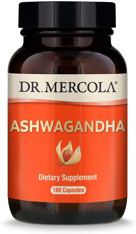 Dr. Mercola, Organic Ashwagandha Capsules, 90 Servings (800mg, 180 Capsules), Non GMO, Soy Free, Gluten Free
