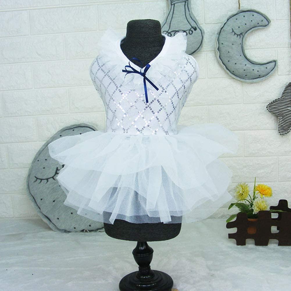 XuBa Cute Summer Style Lace Sequins Pet Dogs Princess Style Wedding Dress White M Originality