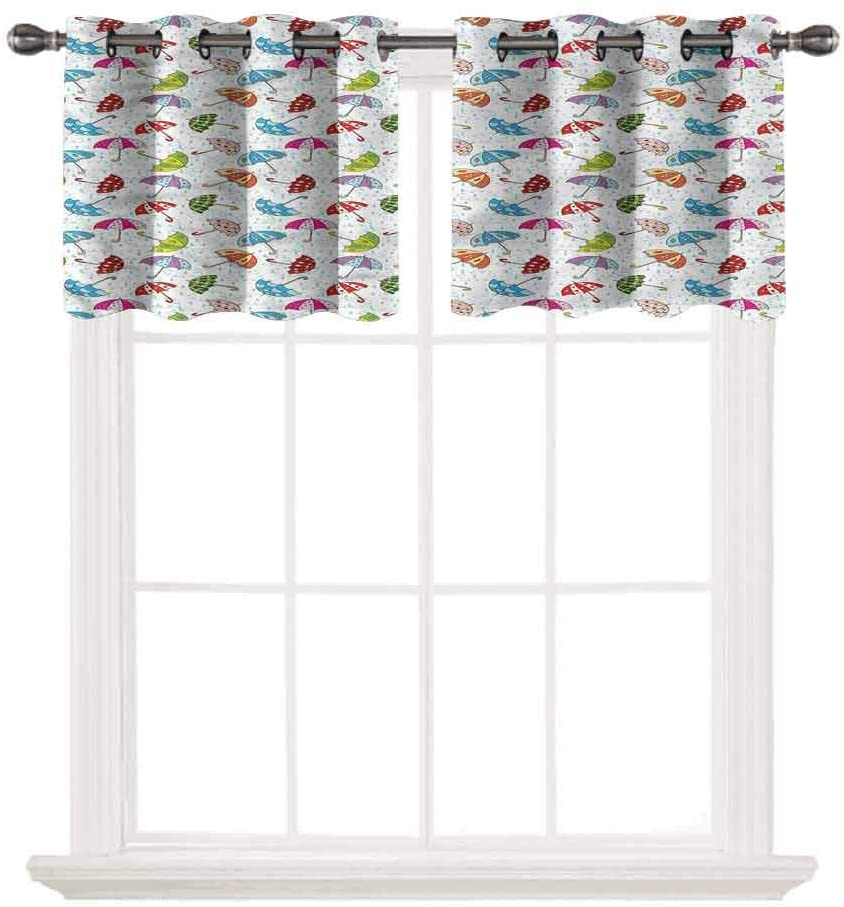 oobon Privacy Protection Kitchen Valances,Umbrella,Rainfall Cartoon Style,for Windows Room Blackout Curtain Valances for Bedroom,W42 by L18,2 Panels