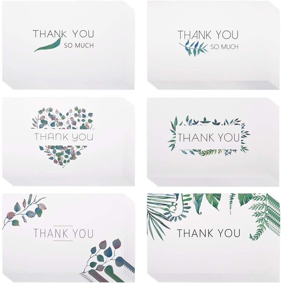 eZAKKA Thank You Card Greeting Card 48-Pack Thank You Notes Watercolor Floral Greenery Leaves Cards with Envelopes Blank Inside for Bridal Shower, Baby Showers, Wedding, Graduation, Business, Funeral