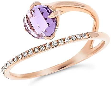 1.08CT DIAMOND & AAA AMETHYST 18KT ROSE GOLD 3D CUSHION & ROUND FUN RING
