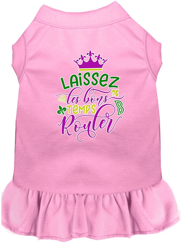 Mirage Pet Product Laissez Les Bons Temps Rouler Screen Print Mardi Gras Dog Dress Light Pink XXL