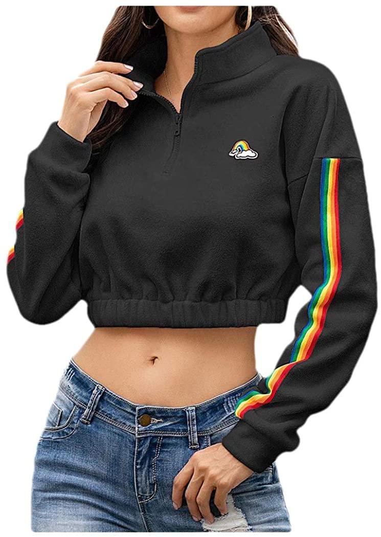 HEFASDM Women's Pinstripe Crop Zipper Fleece Casual Leisure Trim-Fit Shirt