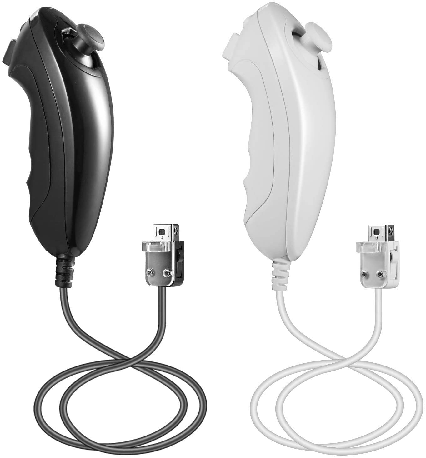 Top Souls 2Pack Nunchuck Remote Controller for Nintendo Wii Wii U Video Game (Black and White)