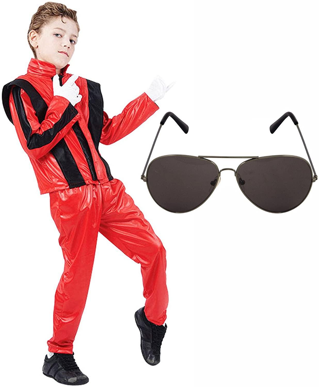 Boys Michael Jackson 80s Fancy Dress Costume with Aviator Sunglasses (4-6 years)